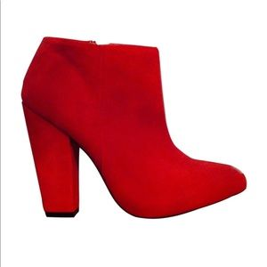 Zara red suede ankle bootie